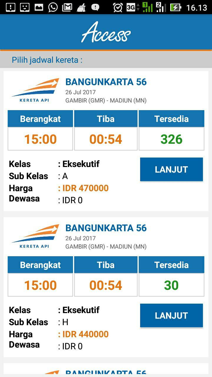 Jadwal Kereta Pada KAI Access